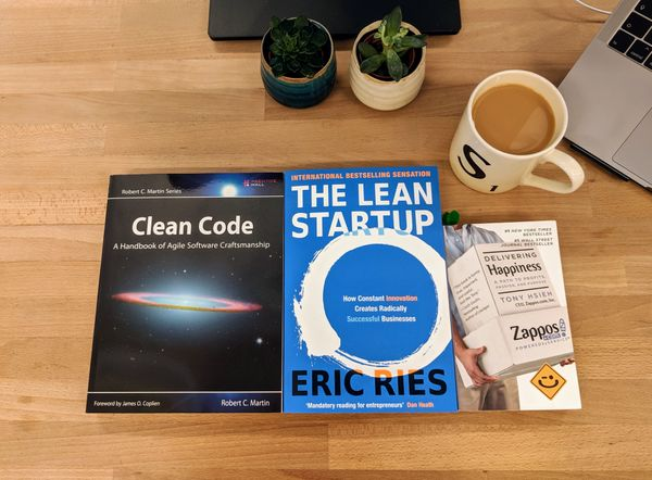 3 books: Clean Code by Robert C. Martin; The Lean Startup by Eric Ries; and Delivering Happiness by Tony Hsieh